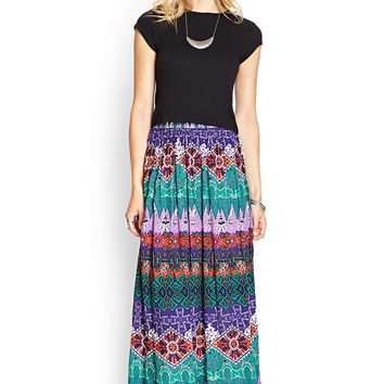 Contemporary Tribal Print Maxi Skirt
