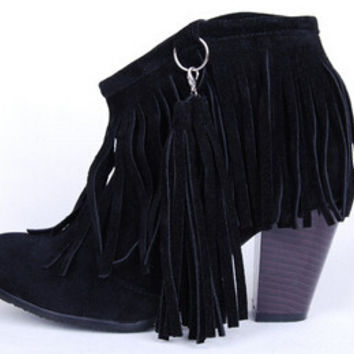 Tassel Thick Heel Woman Autumn  Solid Flock Winter Boots Shoes