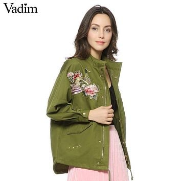 women army green floral embroidery bomber jacket patched rivet design loose flight jackets casual coat punk outwear capa CT1285