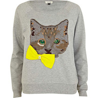 Grey Cat and bow print sweatshirt