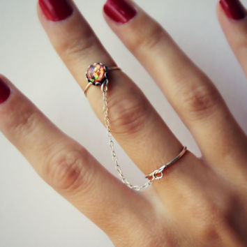 pink opal slave ring in sterling silver, opal knuckle ring, midi ring, minimalist ring, stacking ring, hammered ring