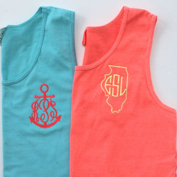 Comfort Color Tank Top State Monogram Personalized Gifts For Men and Women