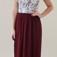 Beautiful in Lace Maxi Dress - Burgundy and White