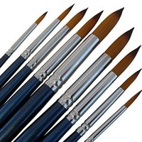 ARTIST PAINT BRUSHES - R - Professional Quality Black Tip, Golden Nylon, Long Handle, Round Paint Brush Set - Ideal for Watercolor Painting and Gouache Color Painting, and Equally Useful for Acrylic Painting and Oil Painting. - The Natural Characteristics