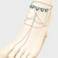 Turquoise Beaded Fringe Barefoot Sandals, Delicate Boho Coin Foot Chain - Silver