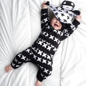 2019 New Fashion Baby Clothing Set Unisex Cotton Long Sleeve Cross Pattern Toddler Romper Newborn Baby Boy Girl Clothes Set