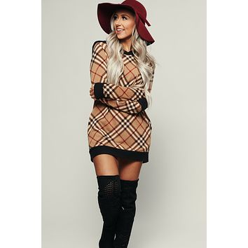 Trailblazing Plaid Tunic (Beige)