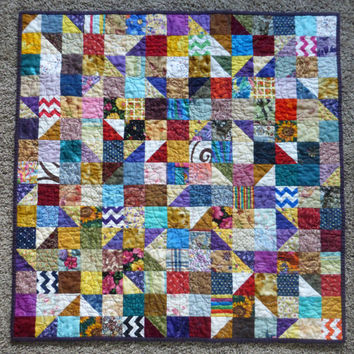 Scrappy Patchwork Quilted Table Topper, Square quilted table mat, rainbow homemade quilt, log cabin decor, primitive americana country quilt