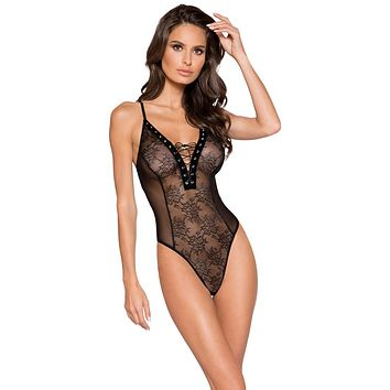 Sexy Black Midnight Sheer Lace and Mesh Lace-Up Bodysuit