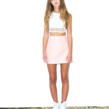 Pink Leather A-Line Skirt