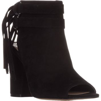 Vince Camuto Catinca Peep-Toe Ankle Boots, Black Suede, 6.5 US / 36.5 EU