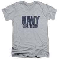 NAVY/GIRLFRIEND-S/S ADULT V-NECK 30/1-ATHLETIC HEATHER