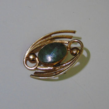 Vintage Catamore Jade Brooch Pin Lapel 1/20-12K GF