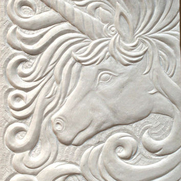 Hand chiseled natural stone Marble plaque relief style fantasy design Unicorn carving