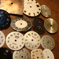 Steampunk Supplies Smal - Large Vintage Antique Watch Faces Parts for Mixed Media - Jewelry, Altered Art, Assemlage, Scrapbooking (1592)