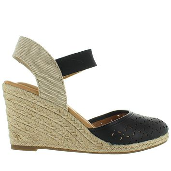 Me Too Bess - Black Platform/Wedge Espadrille Sandal