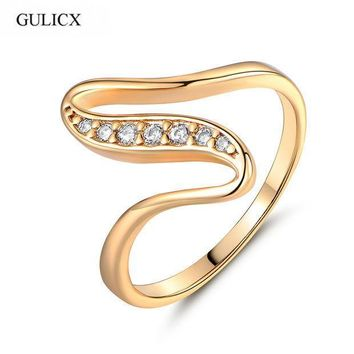 Gulicx X Shape Snake Curve Rings Unique Gold Color Ring White Crystal Cz Zirconia Engagement Rings For Women Jewelry R103