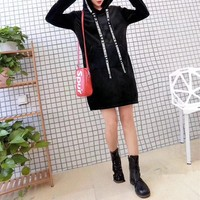 """""""Moschino"""" Women Casual Fashion Velvet Letter Print Webbing Hooded Long Sleeve Medium Long Section Thickened Sweater Dress"""