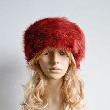 Red Warm Fur Hat Fashion Russian Lady Faux Rabbit Cap Womens Winter Beanie Hat Female Ladies Head Gear