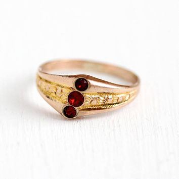 Antique Rosy Yellow Gold Filled Triple Red Stone Ring - Victorian 1900s Size 7 3/4 Simulated Ruby Three July Birthstone Statement Jewelry