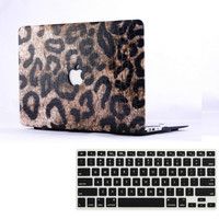 Leather Leopard Hard Case Cover + Keyboard Cover For Apple Macbook Air Pro 11 12 13 15 '' inch Free Shipping