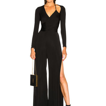 Michelle Mason Wrap Jumpsuit in Black | FWRD