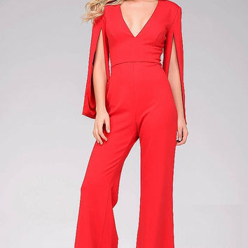 Red Hanging Sleeve Knit Jumpsuit 49723