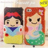 iPhone 5 case, iPhone 4 case, iPhone 4s case, Snow White iphone 5 bling case, princess iphone 4 case bling mermaid, unique iphone 5 case