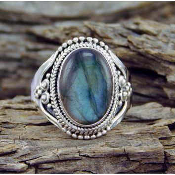 Rainbow Moonstone Gemstone 925 Sterling Silver Vintage Jewelry Ring Size 6-10