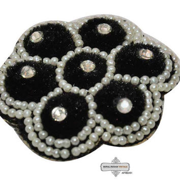 Black Beaded Appliques Indian Craft Sewing Costume Dress Sewing Patches Wedding Appliques 2 Pcs / Free Shipping / AP/BD/61