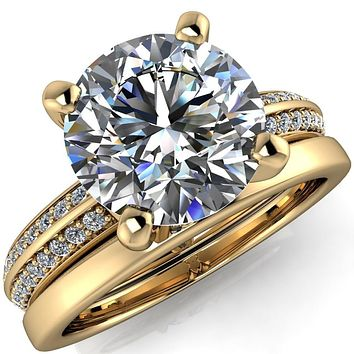 Alicia Round Moissanite Charmed Double Sided Diamonds Design Engagement Ring