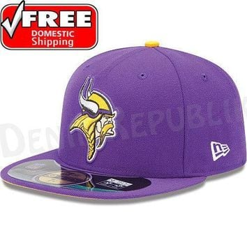 New Era 5950 MINNESOTA VIKINGS NFL On Field Game Cap Purple Fitted Hat 59FIFTY