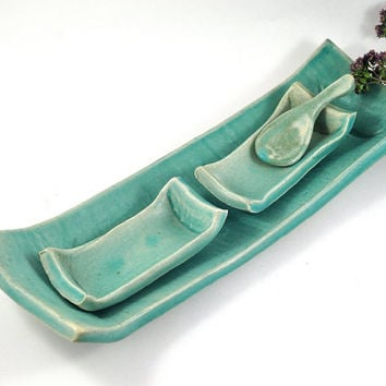 Tapas Sushi Tray and Two Rectangle Condiment Dishes with Spoon Serving Set Aqua Green Rustic Ceramic Handmade Pottery