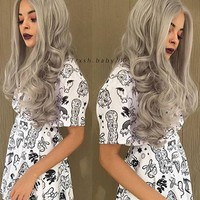 Silver Grey Wave Synthetic Lace Front Wig