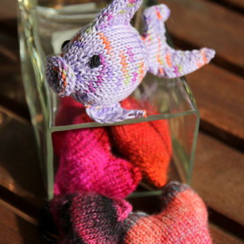 Toy Fish, handknit from eco friendly cotton yarn, spring gift and decoration, stocking stuffer, gift for kids and adults
