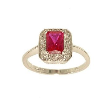 Totally Real Looking Delicate Silvertone Fashion Ring with Emerald Cut Synthetic Ruby Framed with Tiny Cubic Zirconia