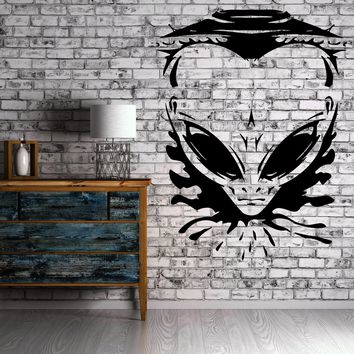 Vinyl Decal Wall Sticker Angry Alien UFO Spaceship Universe Space Modern Man Cave Decor Unique Gift (z2251)