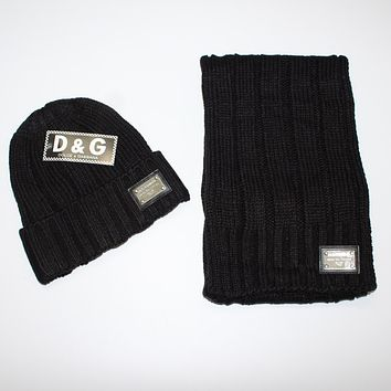 x1love  D&G  Women Men Winter Knit Hat Cap Scarf Set Two-Piece