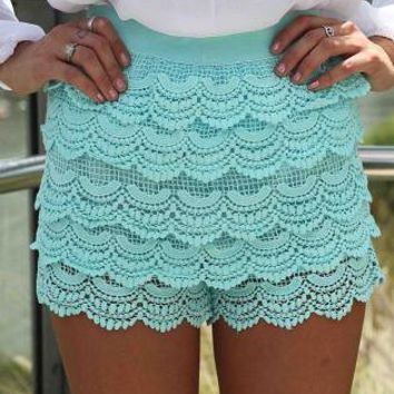 Teal Scalloped Lace High Waist Shorts