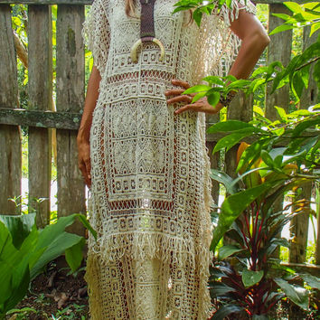 Long Hand Made Bohemian Lace Maxi Dress with lace. Beige Color