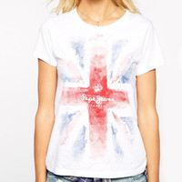 Union Jack Letters Print Short Sleeve Graphic Tee