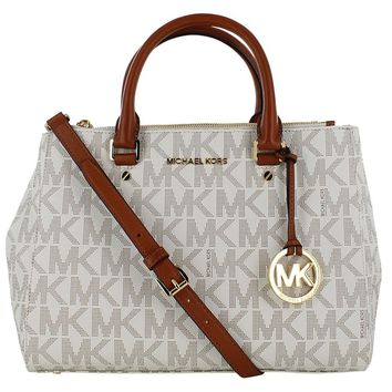Michael Kors Sutton Medium Satchel N/S Travel Tote Handbag White