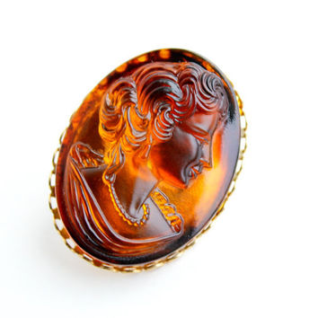 Vintage Brown Cameo Brooch  - Oval Glass Gold Tone Costume Jewelry Pin / Faux Tortoise Shell
