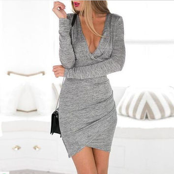 Winter Sexy Deep V Backless Slim Skirt Long Sleeve Knit One Piece Dress [6339066113]