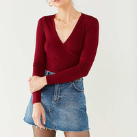 Project Social T Surplice Wrap Top   Urban Outfitters