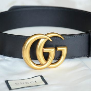 Authentic Gucci Unisex black leather belt with GOLD Buckle 100cm