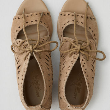 AEO Lace-Up Block Heel Sandal , Taupe