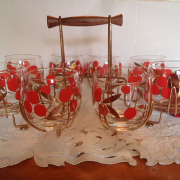 Vintage Red Dots Glasses , Roly Poly Glasses , 8 Glasses and Tray , Cherry and Gold Leaf , Barware