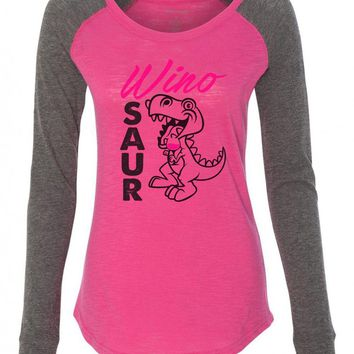 "Womens ""Wino Saur"" Long Sleeve Elbow Patch Contrast Shirt"