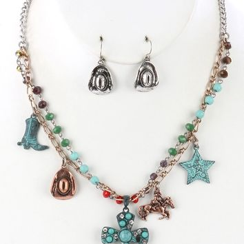 Turquoise and Coral Aged Finish Metal Southwestern Style Charm Necklace And Earring Set